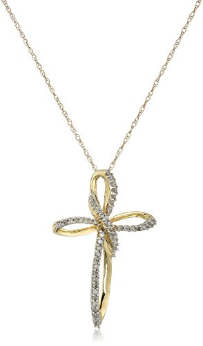 ond Cross Pendant Necklace (1/5 cttw), 18
