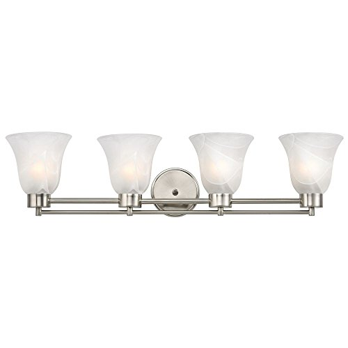 Modern Bathroom Light with Alabaster Glass in Satin Nickel Finish