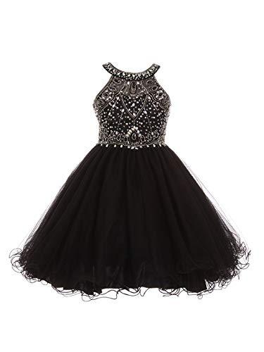 Big Girls Black Rhinestone Halter Neck Tulle Junior Bridesmaid Dress - Dresses Allure Couture Wedding