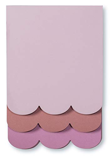 Kate Spade New York Stacked Desktop Notepad, Includes 3 Pink Memo Pads with 75 Sheets, Scallop