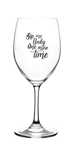 Lushy Wino Sip Me Baby One More Time - Cute Funny Wine Glass, Large 16 Ounce Size, Etched Sayings, Gift Box