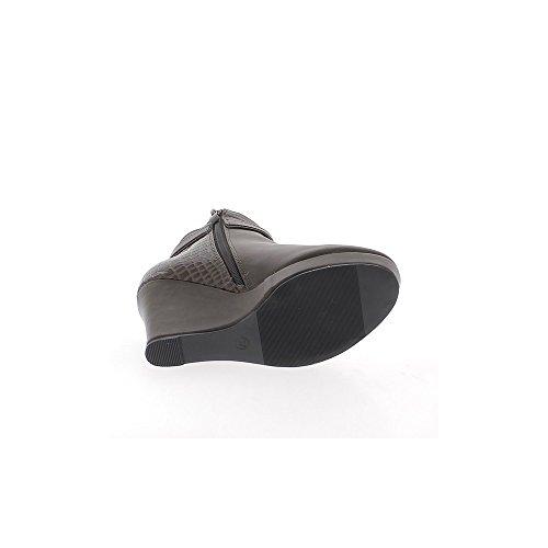 Stiefel Braun Keil Ferse 10cm Kunstleder und Croco dicken Sohlen gesäumten
