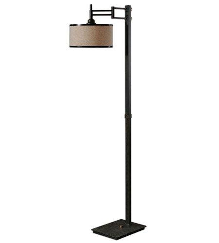 (Prescott Floor Lamp 1 Light with Brushed Coffee Bronze Finish Metal Fabric Material 65 inch 150 Watts)