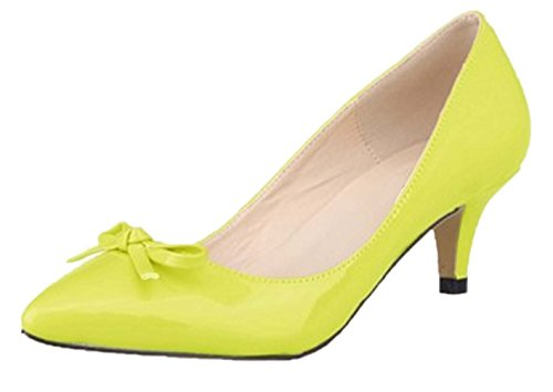 HooH Women's Pointed Toe Sweet Bowknot Kitten Pumps-Fluorescent Yellow-35
