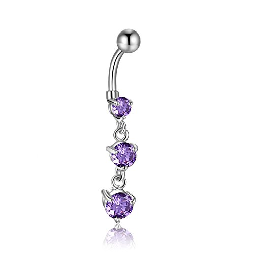 (Round Crystal Zircon 316l Surgical Steel Dandle Belly Button Navel Ring Barbell 14g (Purple)