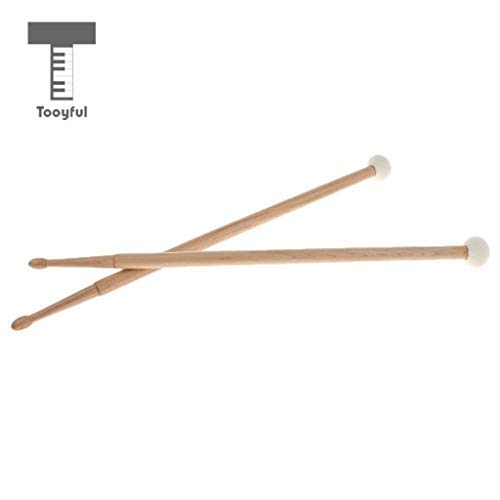- DDV-US - 1 Pair Maple Wood Double Head Cymbal Gong Mallet Felt Hammer Drum Set Sticks Percussion Instrument Accessory