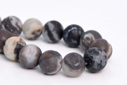 8MM Natural Matte Black Zebra Agate Beads Grade AAA Round Loose Beads 7.5'',