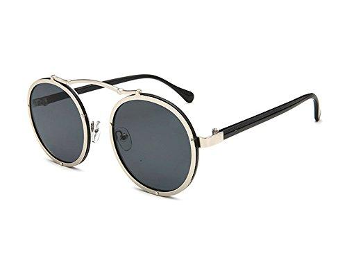 Round en classique lunettes cadre Gris soleil Argent Frame métal Polarized de Keephen Steampunk Retro FtxnzawfqZ