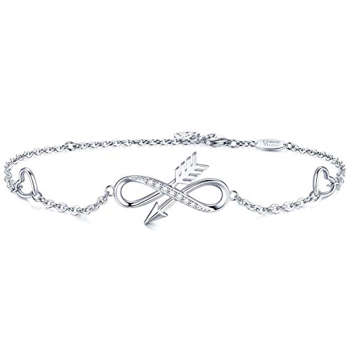AmorAime Infinity Arrow Heart Charm Bracelet S925 Sterling Silver Cubic Zirconia White Gold Plated Adjustable Womens Friendship -