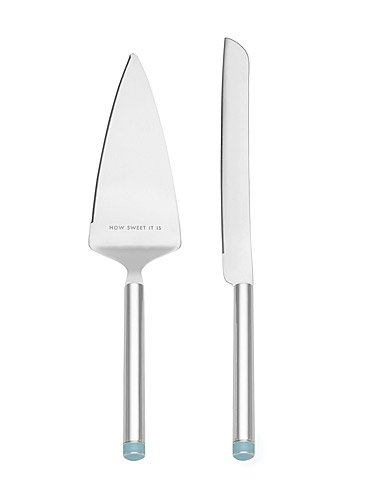 Kate Spade New York Take the Cake Knife and Server 2-Piece Dessert Serving Set, Silver-plate and Turquoise (Dessert Silverplate Server)