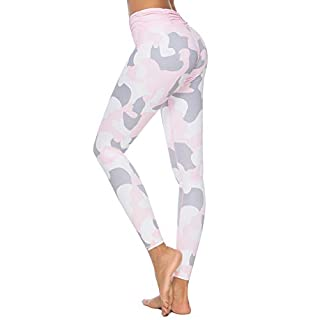 Mint Lilac Women's High Waist Printed Workout Yoga Leggings Athletic Tummy Control Casual Pants with Ruched Waistband Pink X-Large