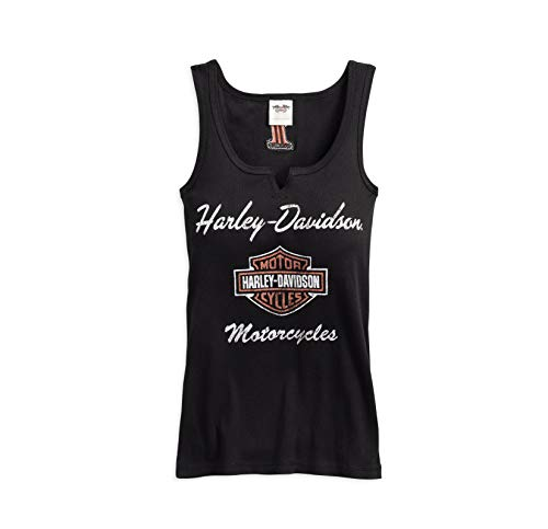 Harley-Davidson Official Women's Classic Notch Neck Tank, Black (Large)