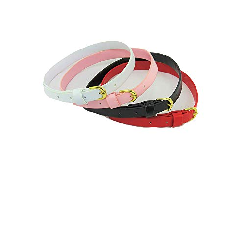 Pack 10: 4 Pack of Belts: Black, Pink, White, and Red| Fits 18