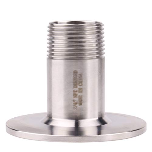 """DERNORD Sanitary Male Threaded Pipe Fitting to 2 INCH (OD 64mm Ferrule) TRI CLAMP (Pipe Size: 3/4"""" NPT (2 Inch Tri clamp))"""