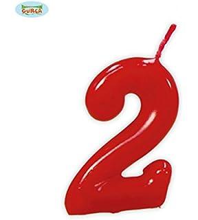 Vela roja con el número 1 para cumpleaños: Amazon.es ...
