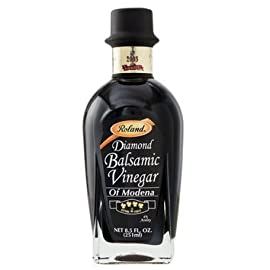 Balsamic Vinegar, Diamond - 4 leaf (8.5oz) 7 Balsamic is an intense, sweet tart vinegar Made from the must of boiled Trebbiano grapes Is the perfect addition to a fine aged cheese, or fresh strawberries, melon and proscuitto, or drizzled around an entree before serving