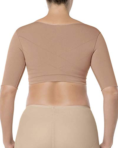 Leonisa Seamless Upper Arm Shaper Slimming Compression Vest with Posture Corrector, Beige, X-Large