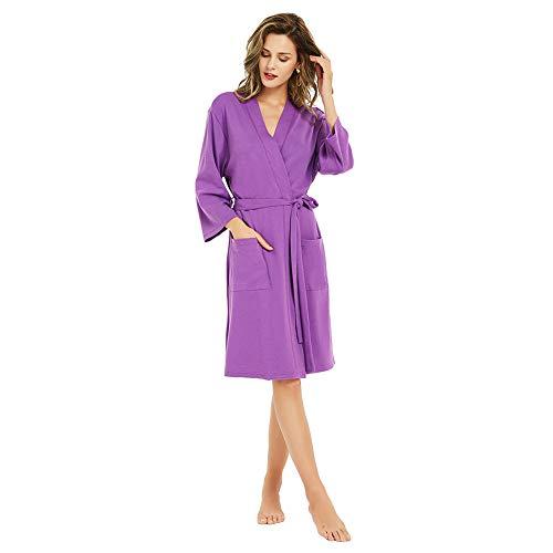 U2SKIIN Kimono Bathrobe for Women with 3/4 Sleeves, Lightweight Cotton Short Robe Ladies Longewear for SPA Bathing Wedding Violet