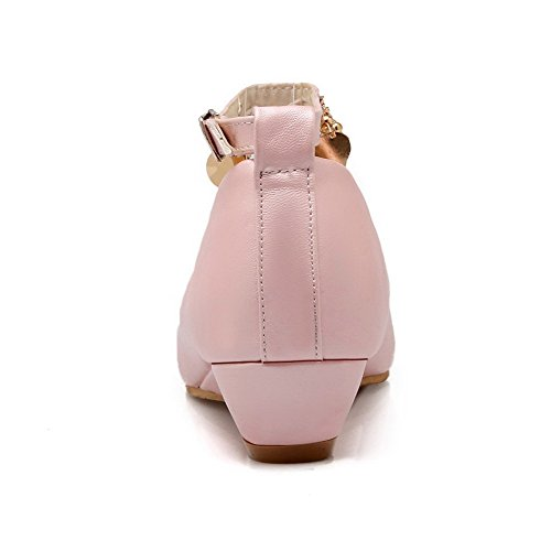 Odomolor Women's Low-Heels PU Solid Buckle Round-Toe Pumps-Shoes, Pink, 41