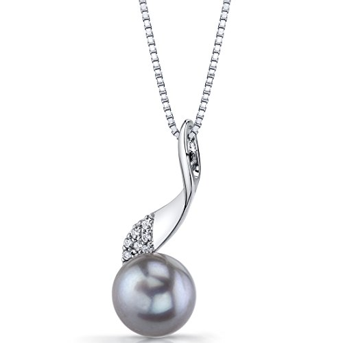 10.0mm Freshwater Cultured Grey Pearl Swirl Sterling Silver Pendant Necklace