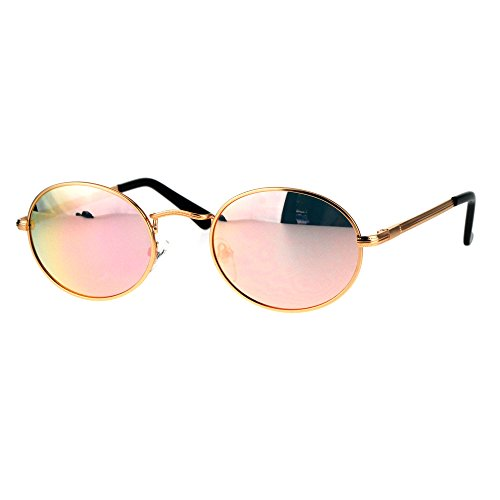 Mens 90s Gangster Rapper Mirror Lens Oval Retro Metal Rim Sunglasses Gold - Oval For Men Sunglasses