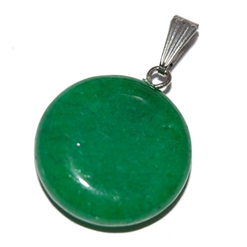 Steampunkers USA Celestial Collection - 20mm Full Moon Disc New Jade (Aventurine) Green - Pendant Only - Tribal Ethnic Carved Necklace - Stainless Steel Bail