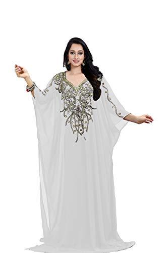 KoC Women's Kaftan Maxi Dress Farasha Caftan KFTN112-White
