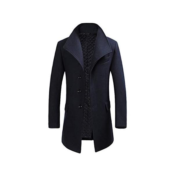 Allthemen Manteau Homme Hiver Long Trench Coat Slim Outerwear Couleur Unie Coat en Laine
