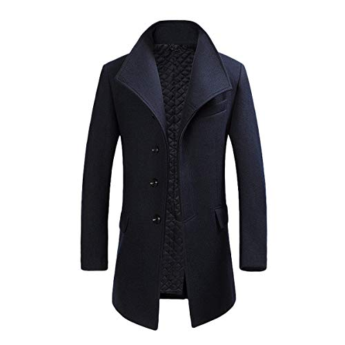 Cloudstyle Mens Quality Mid Long Wool Trench Pea Coat Wide Lapel Warm Jacket Overcoat Navy