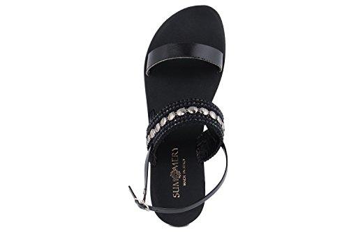 SUMMERY FEMME - Sandale en Cuir - noir - 1007_ROMANA_NERO