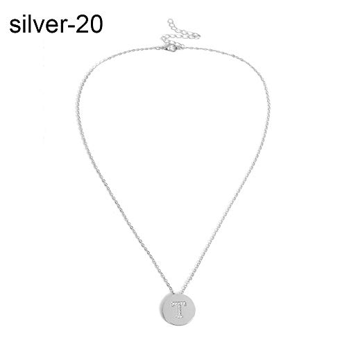 Everrikle Necklaces for women,Women Cubic Zirconia A-Z Capital Letter Round Pendant Sweater Chain Necklace,Mother's Day, Valentine's Day, Christmas, Holiday Gifts ()