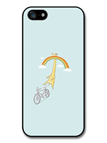 Giraffe Riding a Bike in Sky with Rainbow Funny Design case for iPhone 5 5S