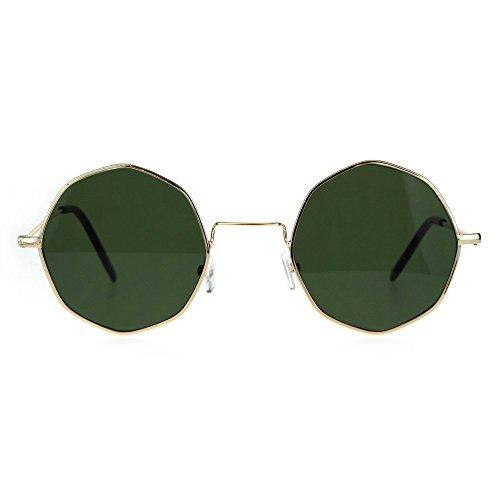 Octagon Metal Wire Rim Pimp Hippie Sunglasses Gold - Wire Glasses Square Rim