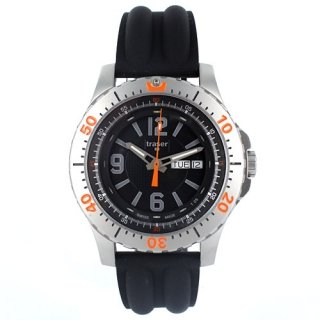 Traser H3 Stainless Steel Extreme Sport Black Dial Silicone Strap by Traser
