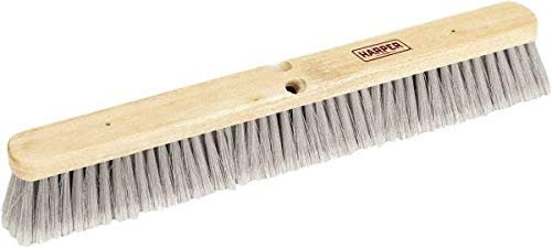 Harper Brush - 36'' Smooth Surface Synthetic Push Broom - 3'' Flagged Bristles, Wood Block, Threaded Handle Connection, Handle Sold Separately (2 Pack)
