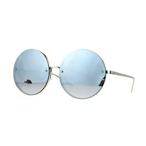 Super Oversized Round Sunglasses Womens Mirror Lens Back Metal Rims Silver, - Womens Large Sunglasses Round