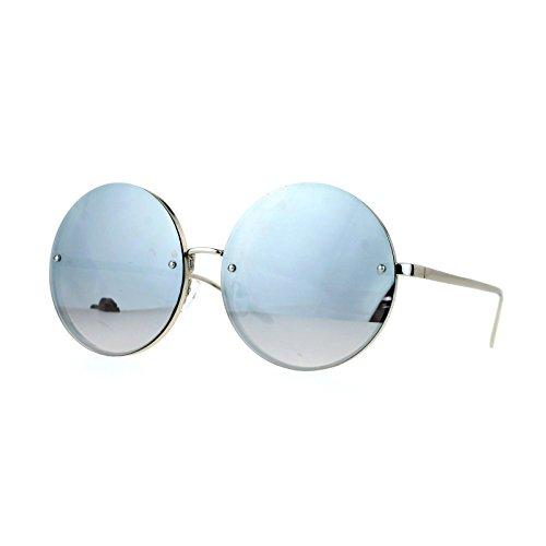 SA106 Unique Rimless Oversized Hippie Round Circle Lens Sunglasses Silver ()