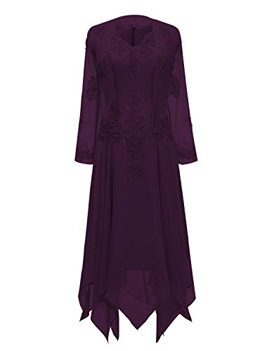 (tutu.vivi V-Neck Chiffon Tea Length Mother of The Bride Dress Long Sleeves Lace Formal Evening Gowns with Jacket Grape Size18W)