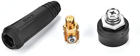 European Style DKJ Series Welding Cable Quick Connector Male Plug and Panel Plug Quick Mount Adapter DKJ10-25 Black