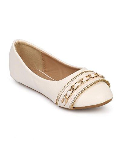 Link DE99 Leatherette Round Toe Chain Zipper Ballet Flat (Toddler/Little Girl/Big Girl) - White 6XZcGeJ