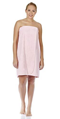 Arus Women's GOTS Certified Organic Turkish Cotton Adjustable Closure Bath Wrap S/M Misty Rose