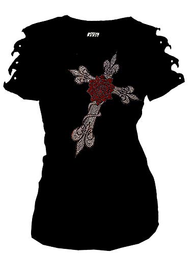 Bling Rhinestone T-Shirt Rose Fleur Cross Ripped Cut Out Short (Large)