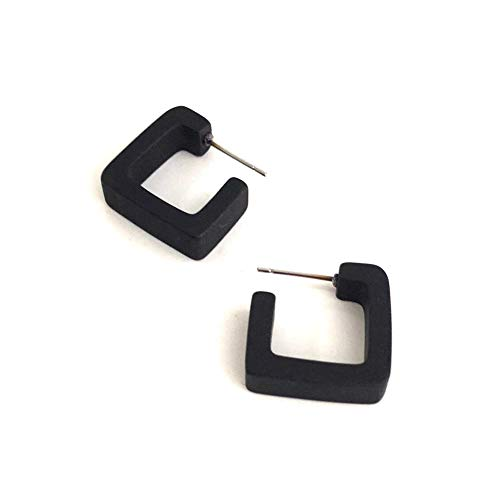 (Black Frosted Small Geometric Square Hoop Earrings)