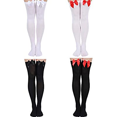 4 Pairs Women Fishnet Stockings Black Sheer Lace Thigh High Stockings High Waist Tights at Women's Clothing store