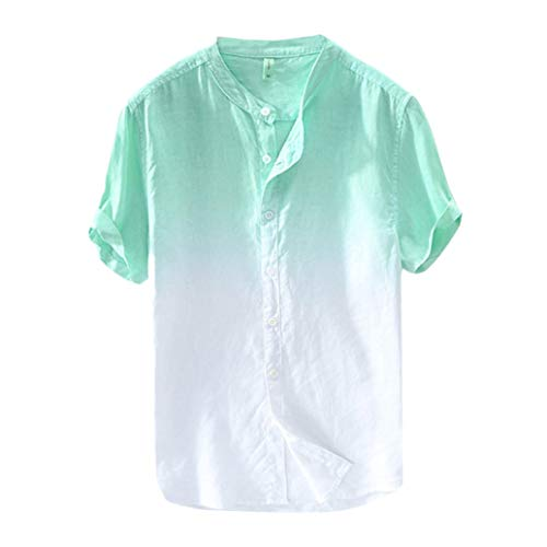 iYBUIA Men's Summer Vintage Round Collar Chinese Style Henley Shirts Gradient Short Sleeve Linen Tops Green