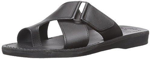 Jerusalem Sandals Men's Asher Slide Sandal, Black, 42 EU/9-9.5 M US