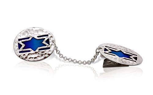 (Nadav Art Sterling silver Star of David Tallit Clips with with Shades of blue cold enamel background Bar Mitzvah)