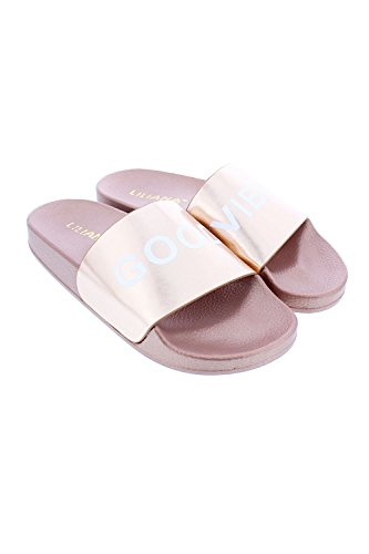 Genx Kvinna Enkelt Ord Brev Slide Sandal Skor Toffel Nomi-12 Steg Guld