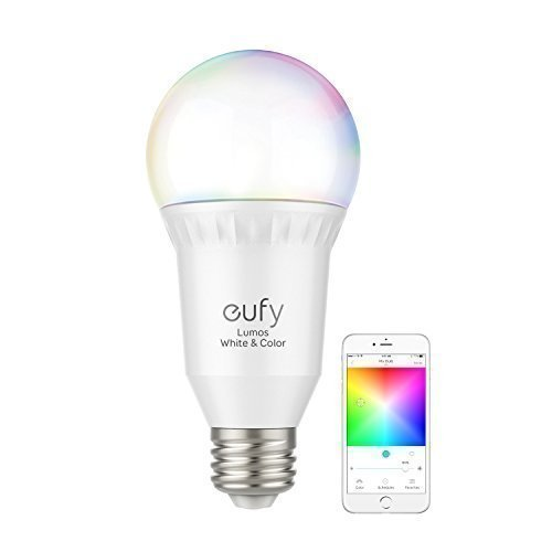 eufy Lumos Smart Bulb - White & Color, Tunable White, Multiple Colors, 9W, Works With Amazon Alexa & Google Assistant, No Hub Required, Wi-Fi, 60W Equivalent, Dimmable LED Bulb, A19, E26, 800 Lumens