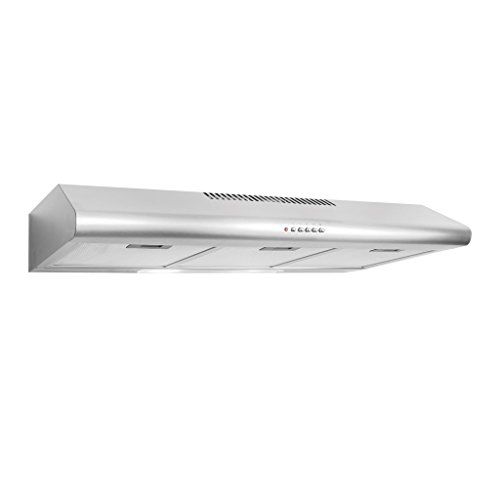 Cosmo COS-5MU36 200 CFM Ducted Under Cabinet Stainless Steel Range Hood With Push Button Control Panel, Kitchen Vent Hood Exhaust Fan With Aluminum Filters And LED Lighting - Extractor Vent